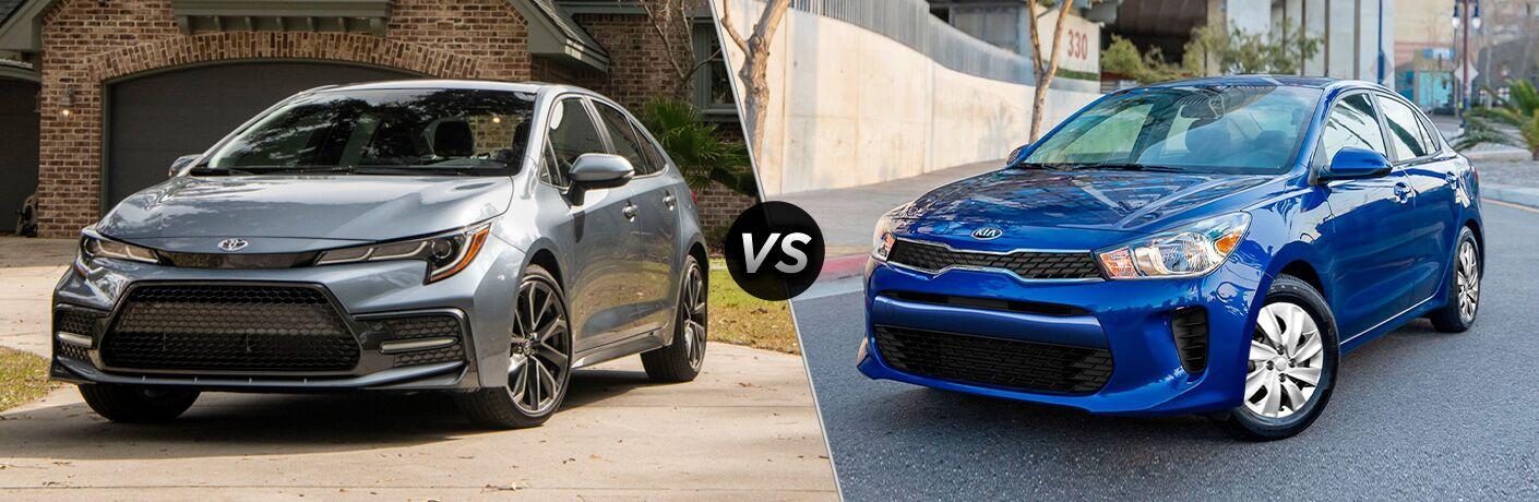 A side-by-side comparison of the 2020 Toyota Corolla vs. 2020 Kia Rio.