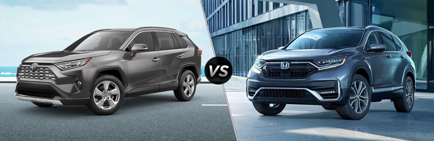 A side-by-side comparison of the 2020 Toyota RAV4 Hybrid vs. 2020 Honda CR-V Hybrid.