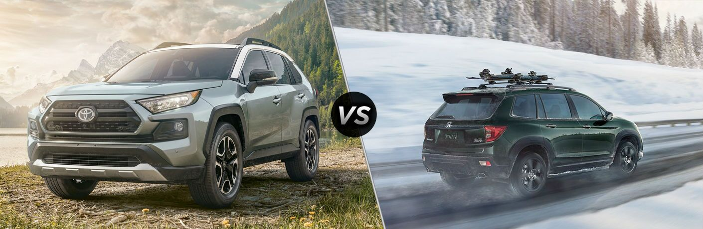 A side-by-side comparison of the 2020 Toyota RAV4 vs. 2020 Honda Passport.