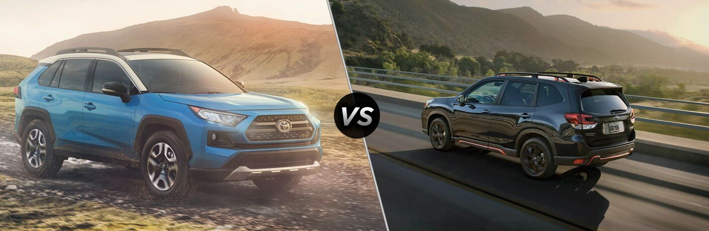 A side-by-side comparison of the 2020 Toyota RAV4 vs. 2020 Subaru Forester.
