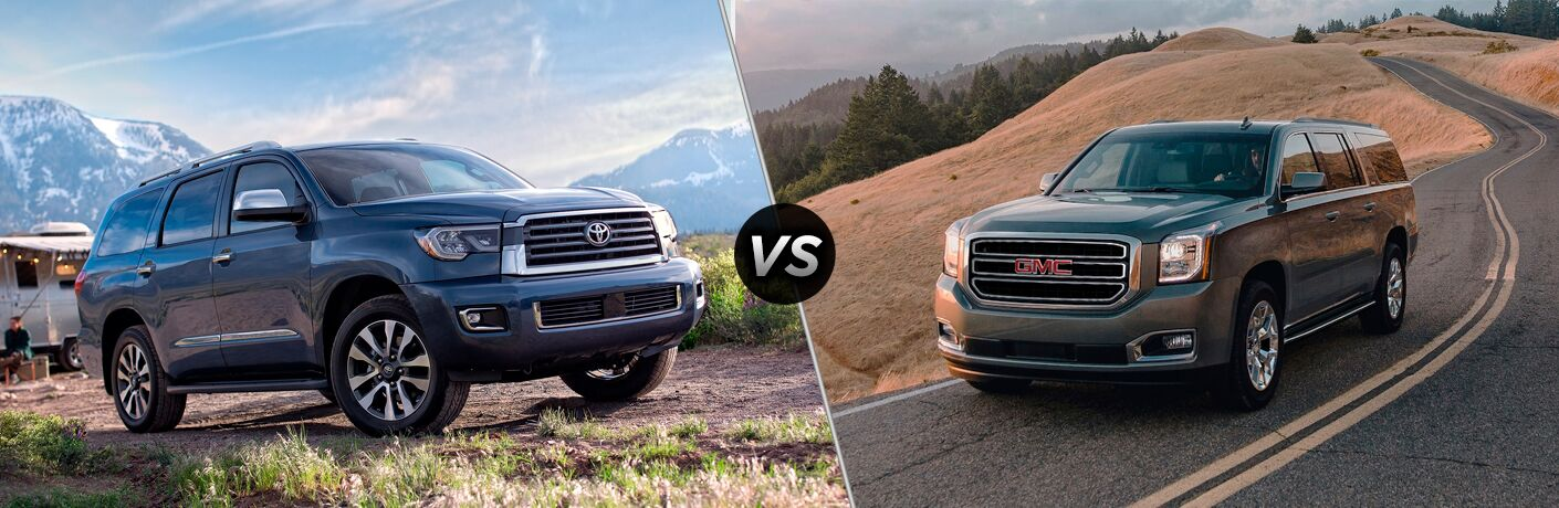 A side-by-side comparison of the 2020 Toyota Sequoia vs. 2020 GMC Yukon