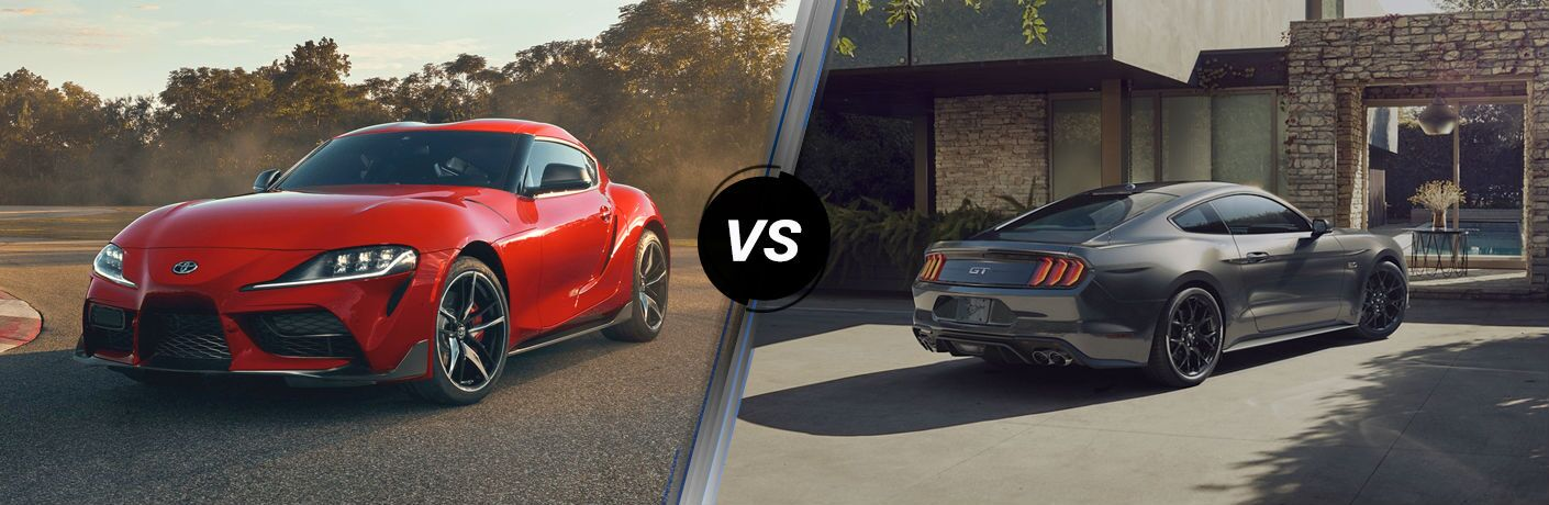 A side-by-side comparison of the 2020 Toyota Supra vs. 2020 Ford Mustang.