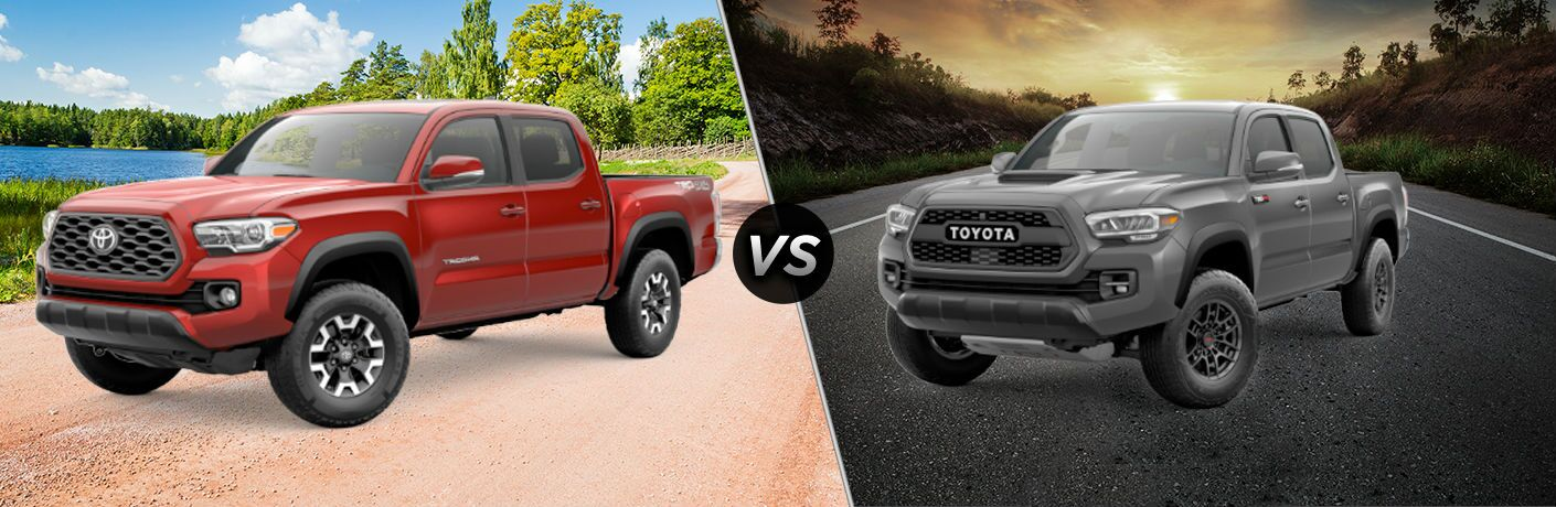 A side-by-side comparison of the 2020 Toyota Tacoma TRD Off-Road vs. 2020 Toyota Tacoma TRD Pro.