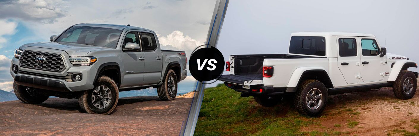 A side-by-side comparison of the 2020 Toyota Tacoma vs. 2020 Jeep Gladiator.