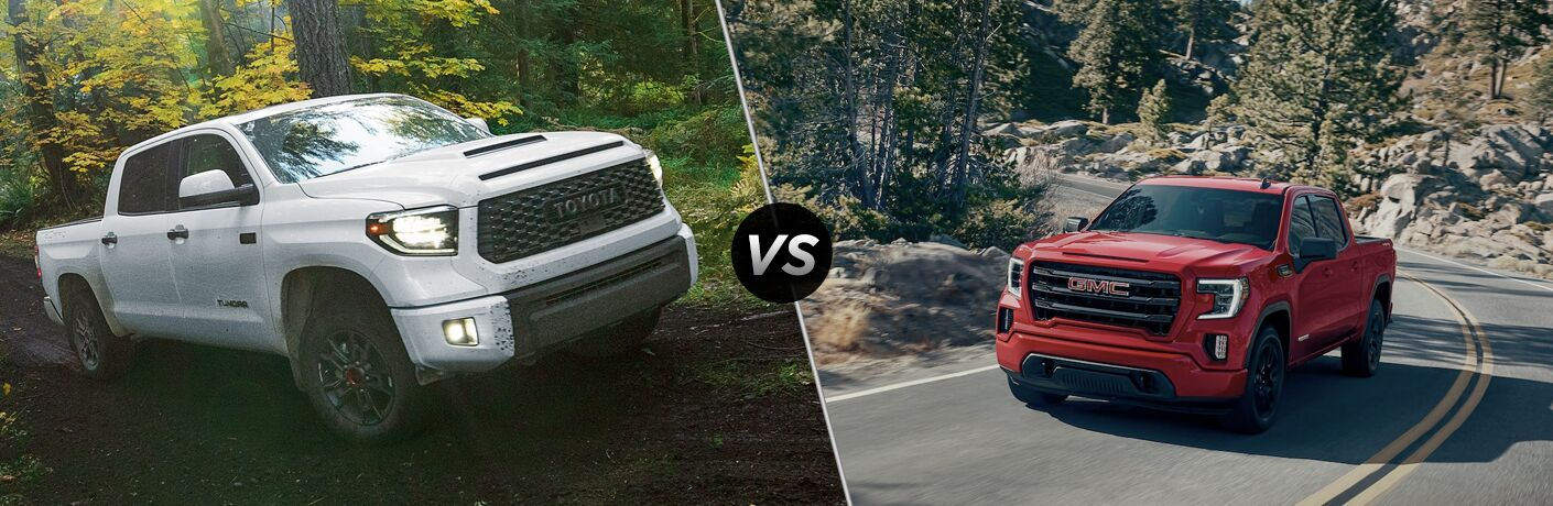 A side-by-side comparison of the 2020 Toyota Tundra vs. 2020 GMC Sierra 1500.