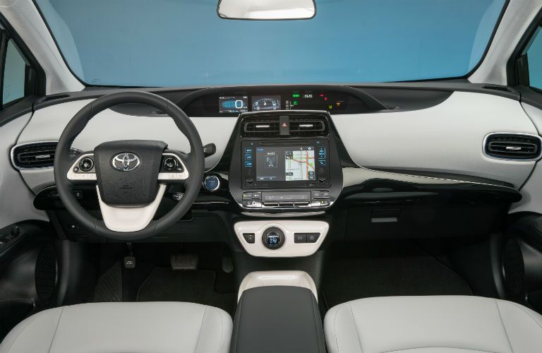 A photo of the dashboard in the certified pre-owned Toyota Prius.