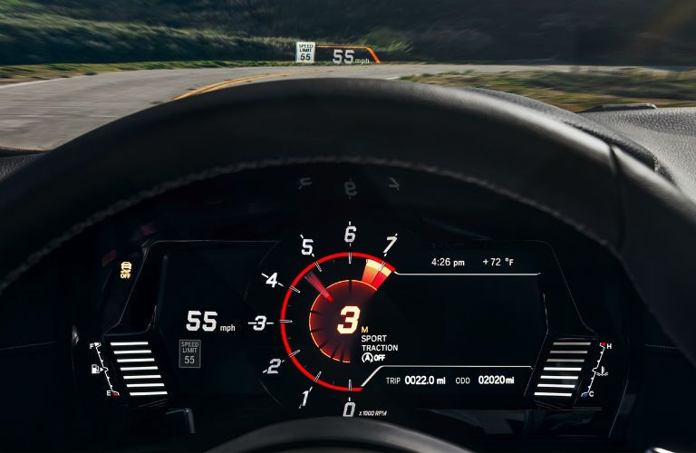 A photo of the digital gauge cluster and heads-up display in the 2020 Supra.