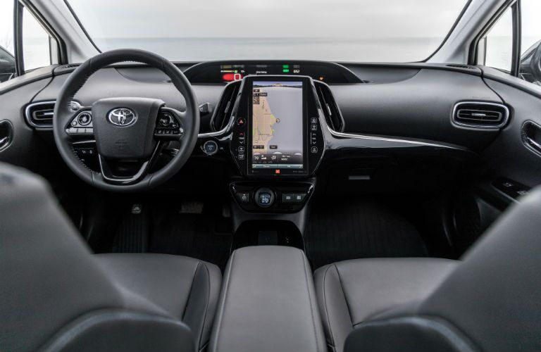 A photo of the dashboard and technology available in the 2020 Toyota Prius.
