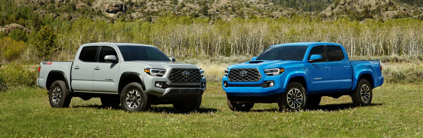 A photo of two 2020 Toyota Tacoma TRD models parked in a field.