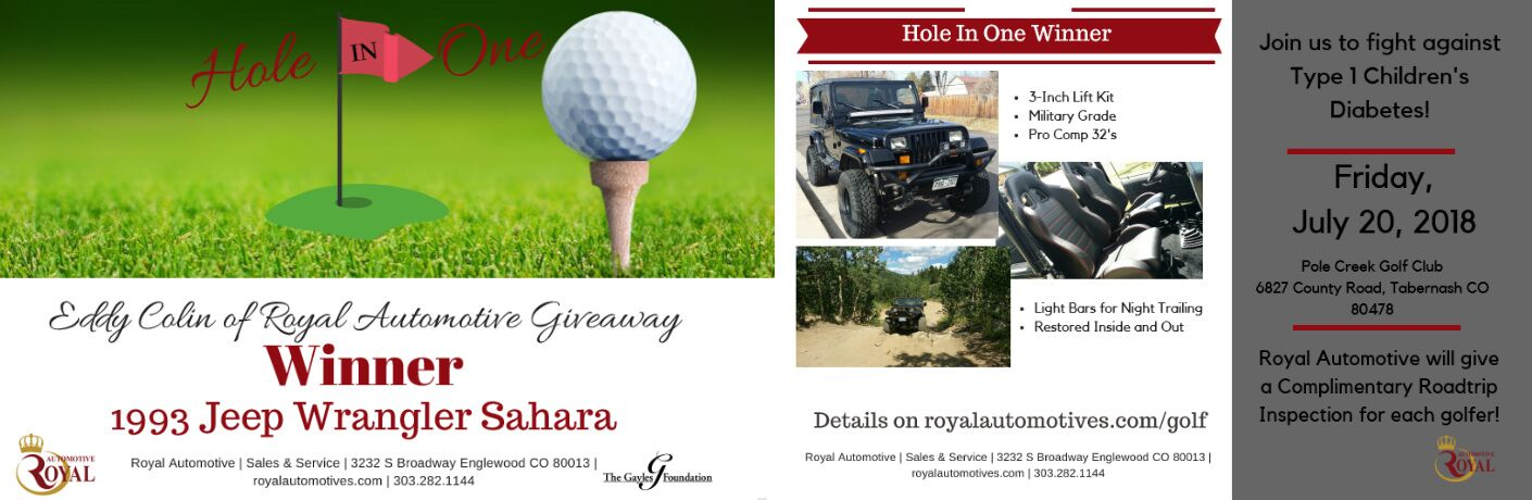 Details of Charity Golf Tournament Jeep Wrangler Giveaway, Pictures of 1993 Jeep Wrangler Sahara, and Drawing of a Golf Ball, Golf Tee, and Golf Hole