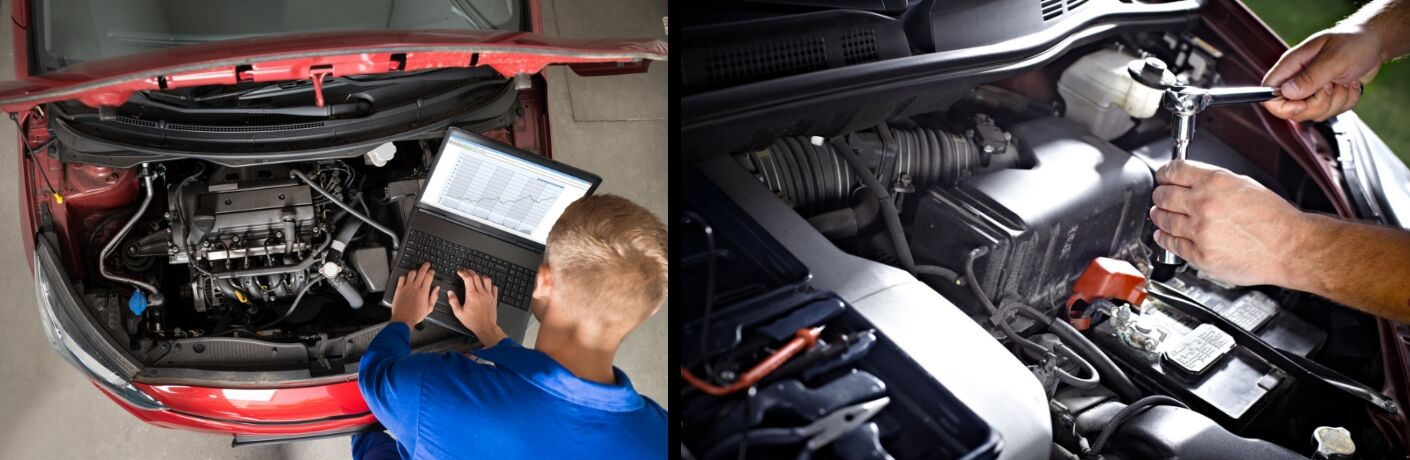 Two Images of Auto Mechanics Working Under the Hood of a Car