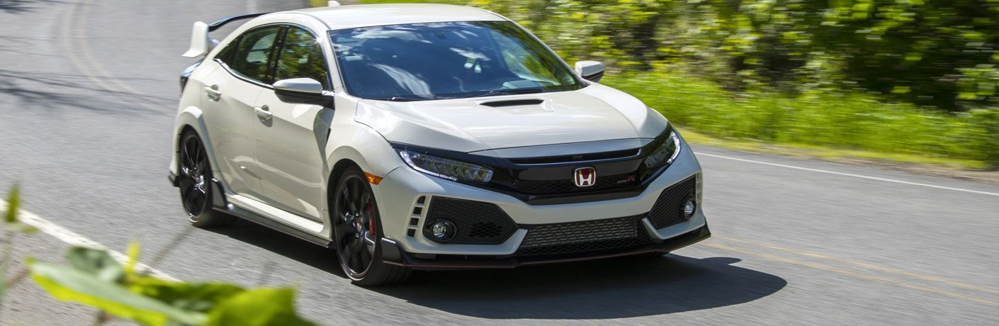 front view of a white 2018 Honda Civic Type R