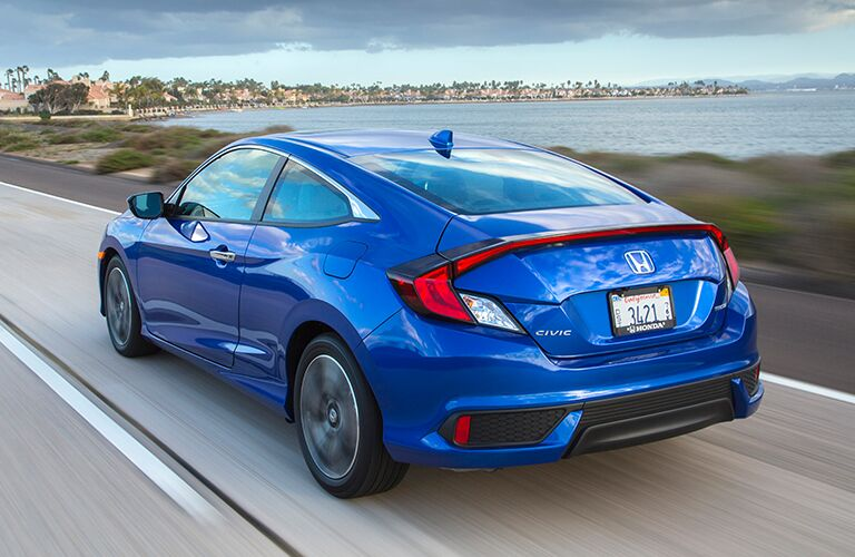 rear view of a blue 2018 Honda Civic Coupe