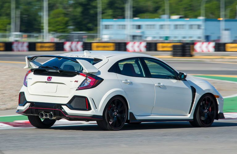 side view of a white 2018 Honda Civic Type R