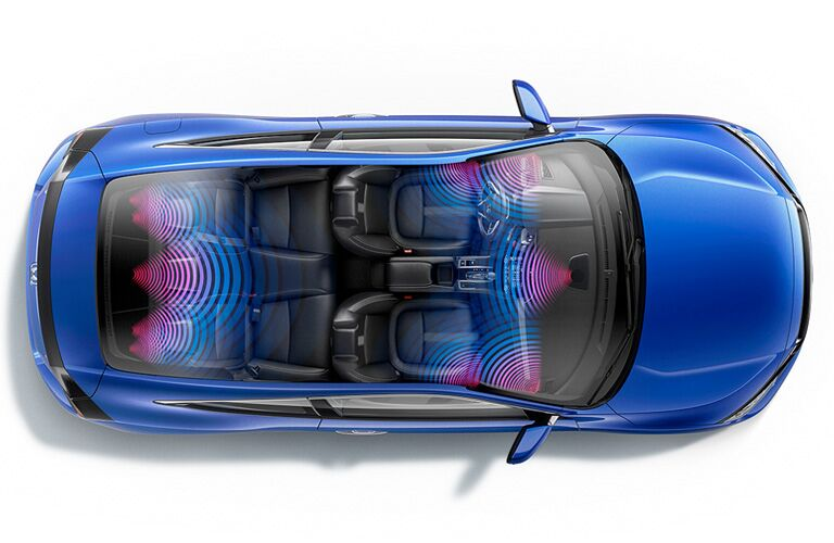 birds eye view of a blue 2019 Honda Civic Coupe