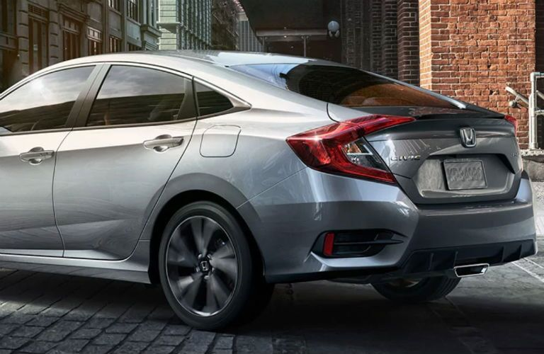rear view of a silver 2019 Honda Civic Sedan Sport