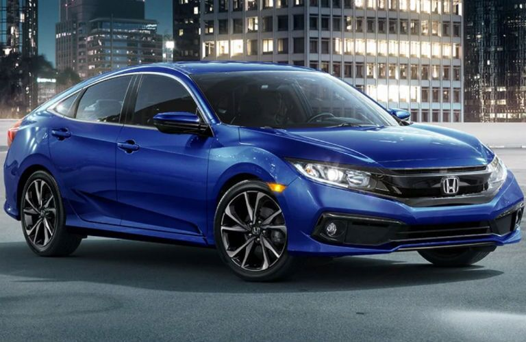 front view of a blue 2019 Honda Civic Sedan Sport