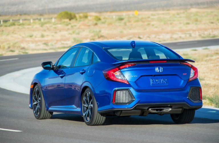 rear view of a blue 2019 Honda Civic Si