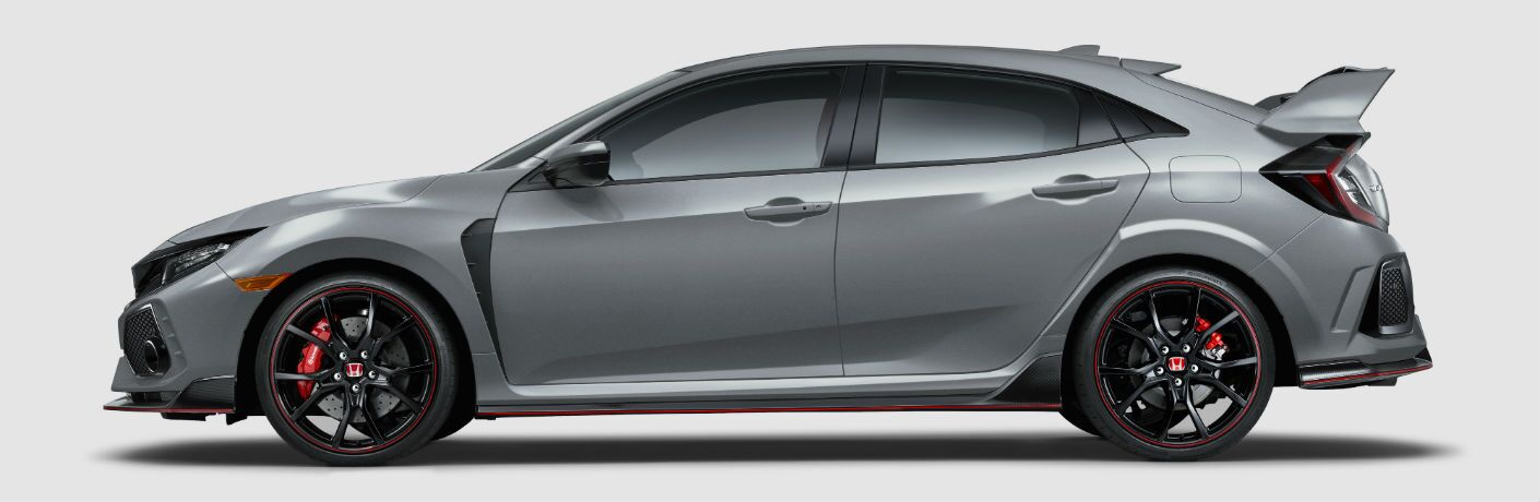 side view of a silver 2019 Honda Civic Type R