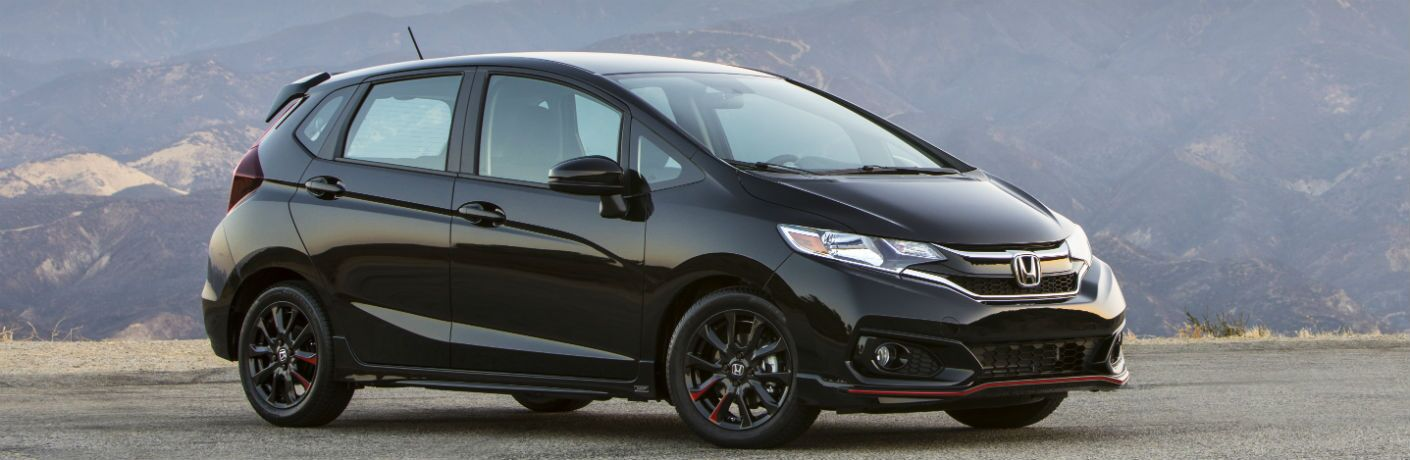 side view of a black 2019 Honda Fit