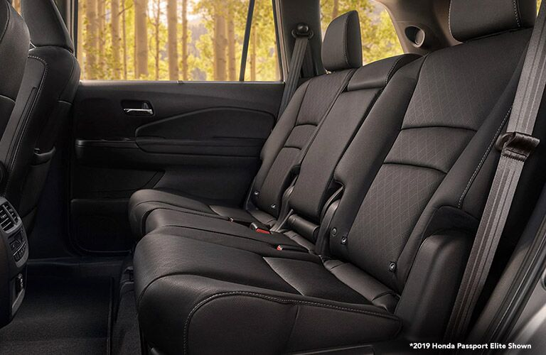 Side view of the rear seat of a Honda Passport