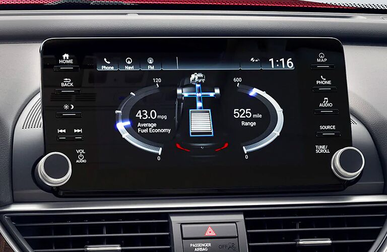 Vehicular information on a screen inside the 2020 Honda Accord.