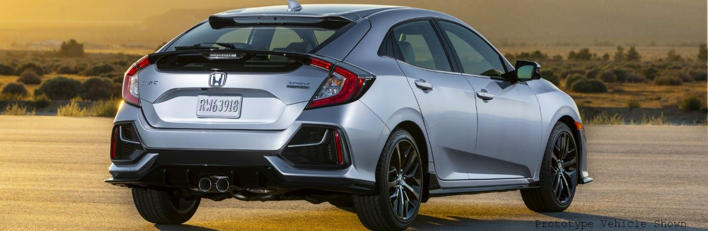 rear view of a silver 2020 Honda Civic Hatchback