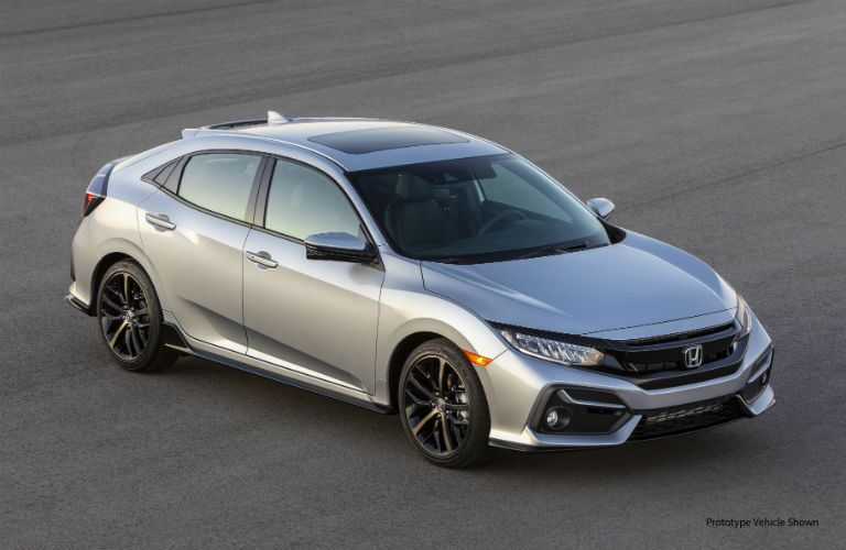 front view of a silver 2020 Honda Civic Hatchback