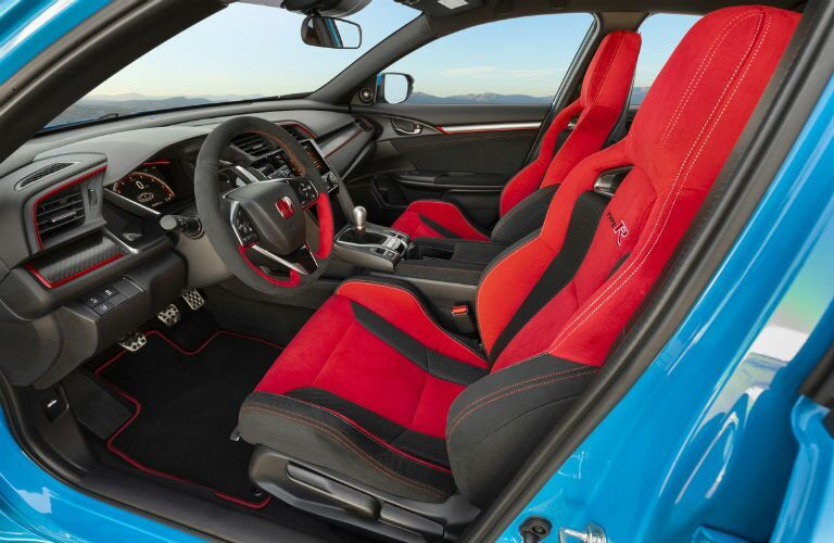 Interior front cockpit of blue 2021 Honda Civic Type R