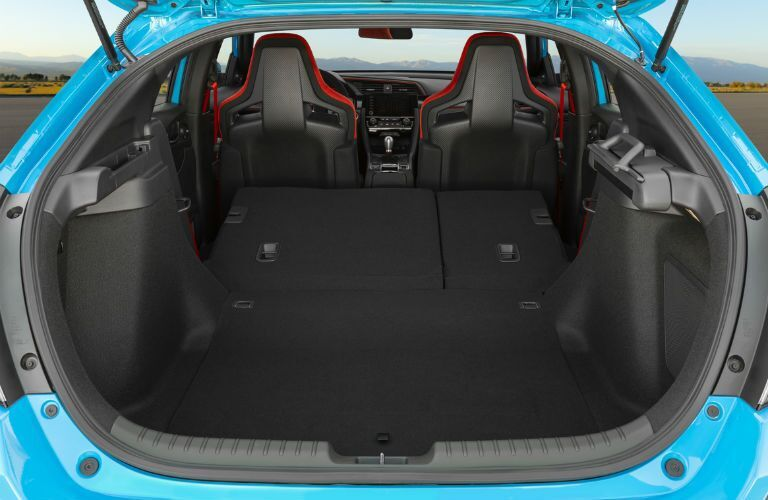 Open cargo area with rear seats lowered in 2021 Honda Civic Type R