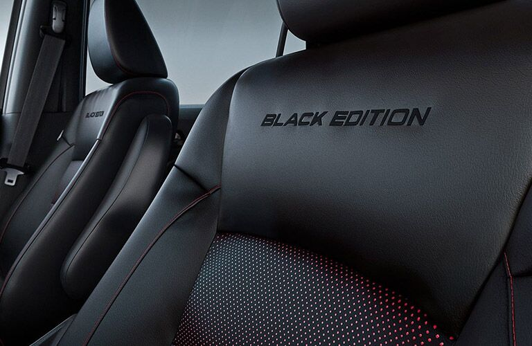 "Seats embossed with ""Black Edition"" in a 2021 Pilot"