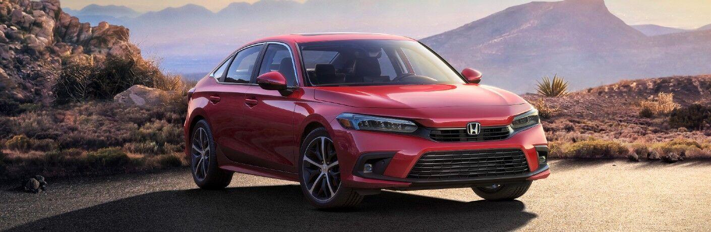 Red 2022 Honda Civic in a desert