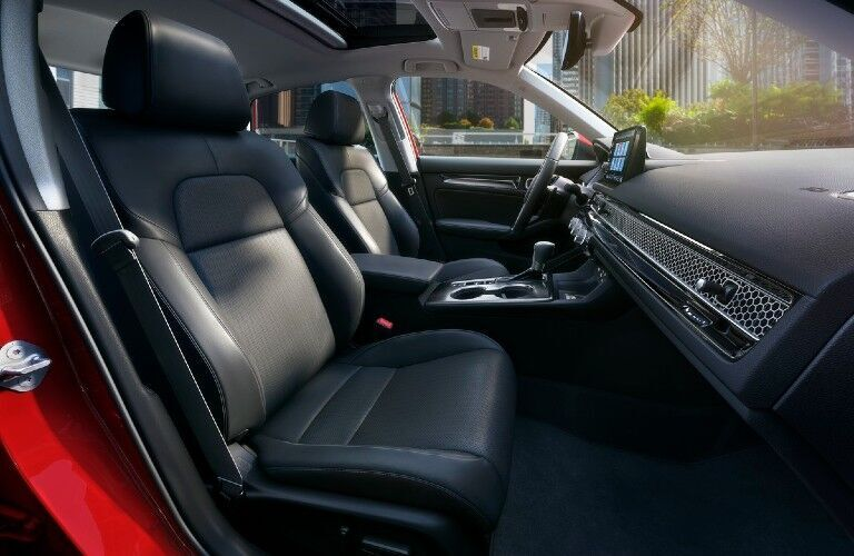 Side view of the interior inside a 2022 Honda Civic, up front