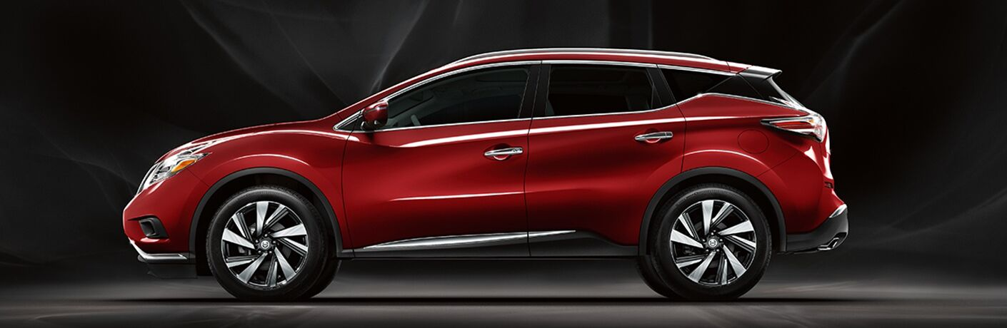 side view of a red 2018 Nissan Murano