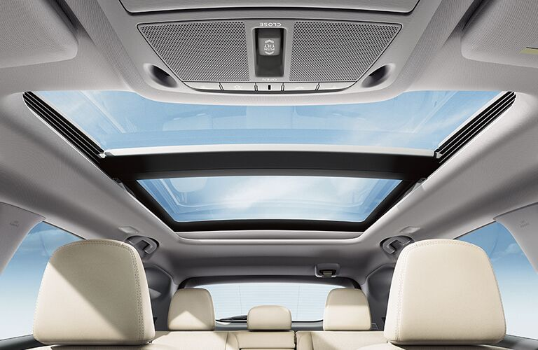 low angle view of the moonroof in a 2018 Nissan Murano