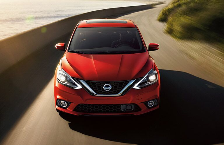 high angle front view of a red 2018 Nissan Sentra