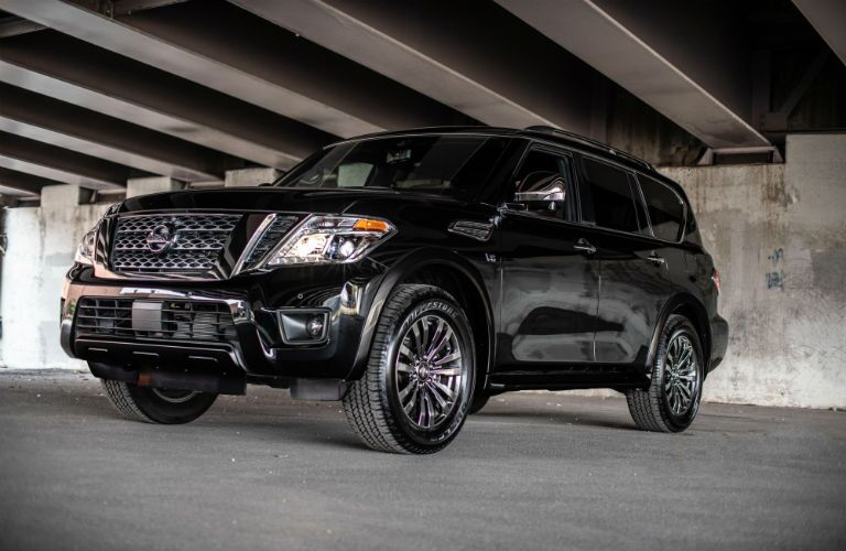 side view of a black 2019 Nissan Armada