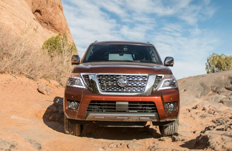 front view of a red 2019 Nissan Armada