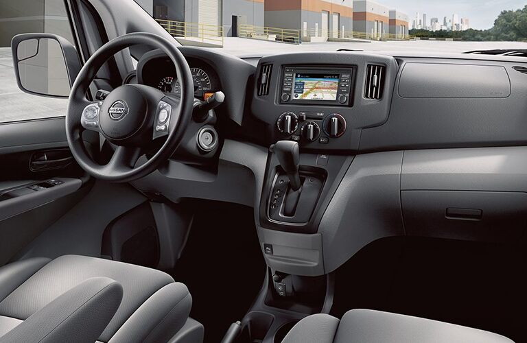 front interior of a 2019 Nissan NV200