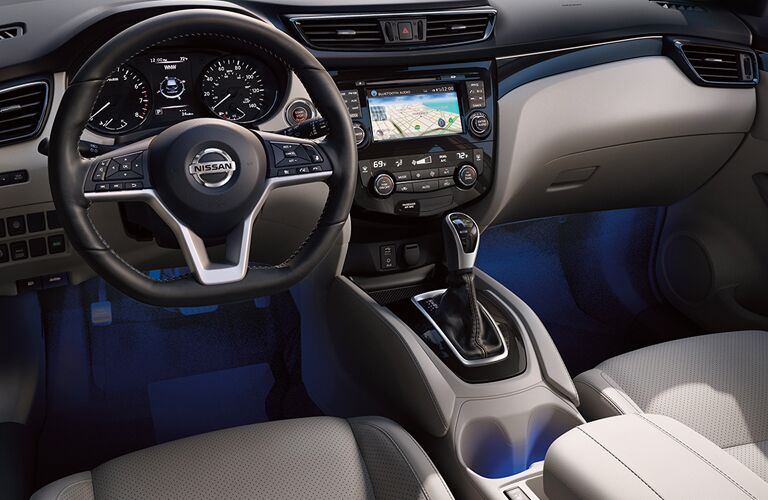 driver dash and infotainment system of a 2019 Nissan Rogue Sport