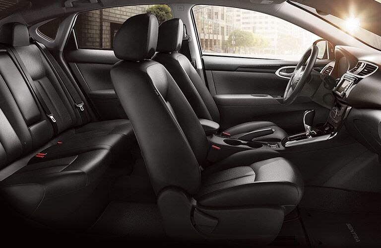 side view of the full interior of a 2019 Nissan Sentra