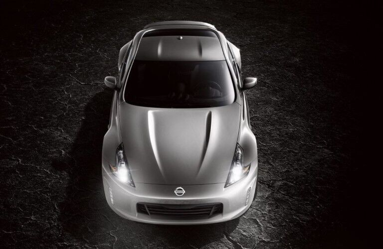 aerial view of a silver 2020 Nissan 370Z Coupe