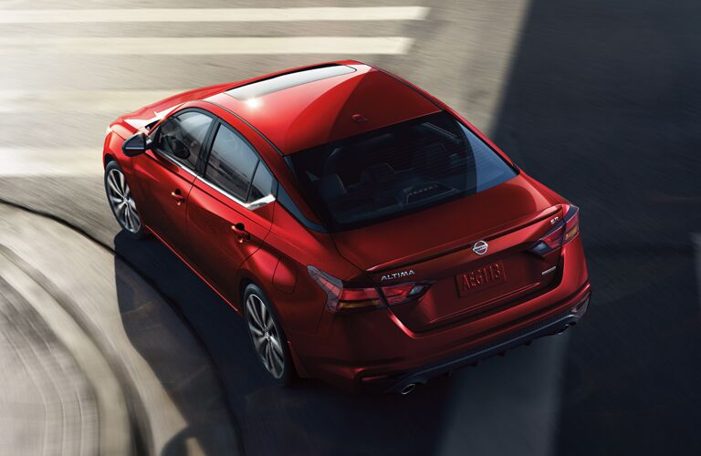 high angle rear view of a red 2020 Nissan Altima