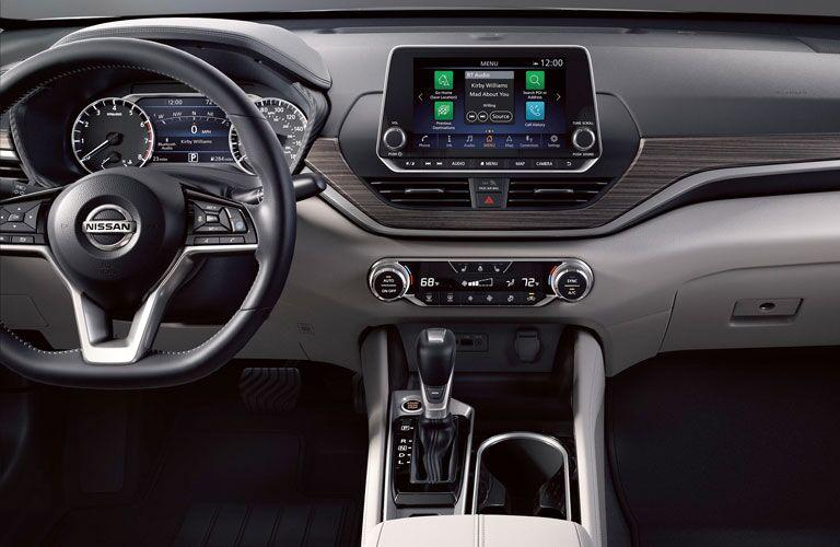 Interior infotainment, dash and control center inside the 2020 Nissan Altima.