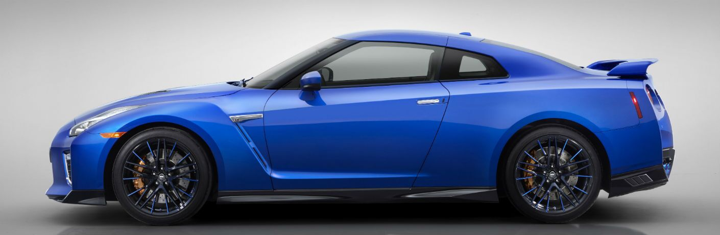 side view of a blue 2020 Nissan GT-R
