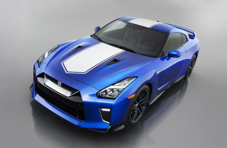 high angle view of a blue 2020 Nissan GT-R