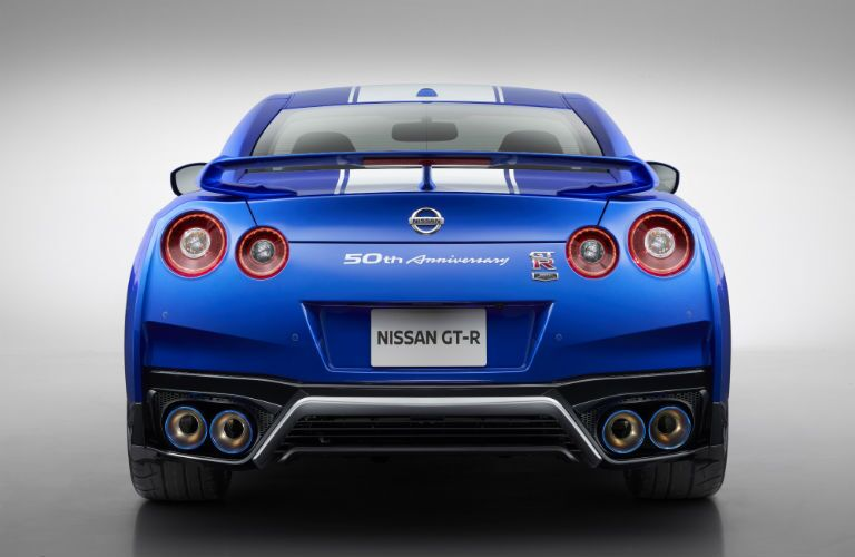 rear view of a blue 2020 Nissan GT-R