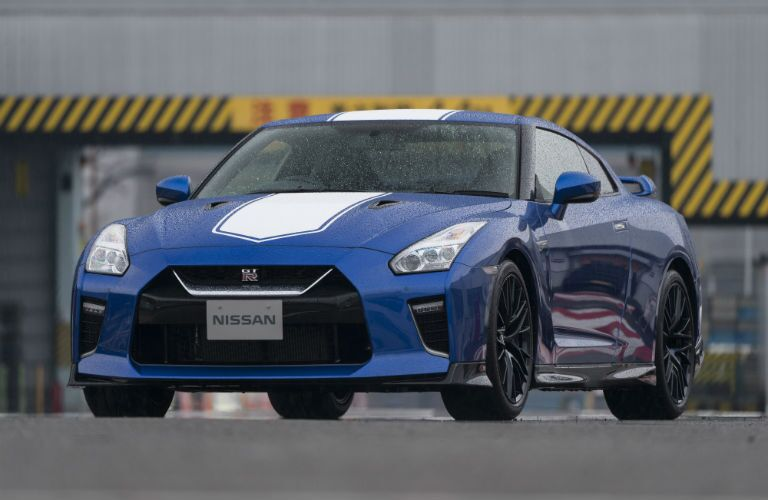 front view of a blue 2020 Nissan GT-R