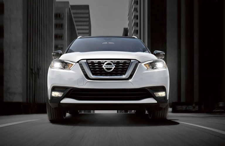 Head-on view of a white 2020 Nissan Kicks