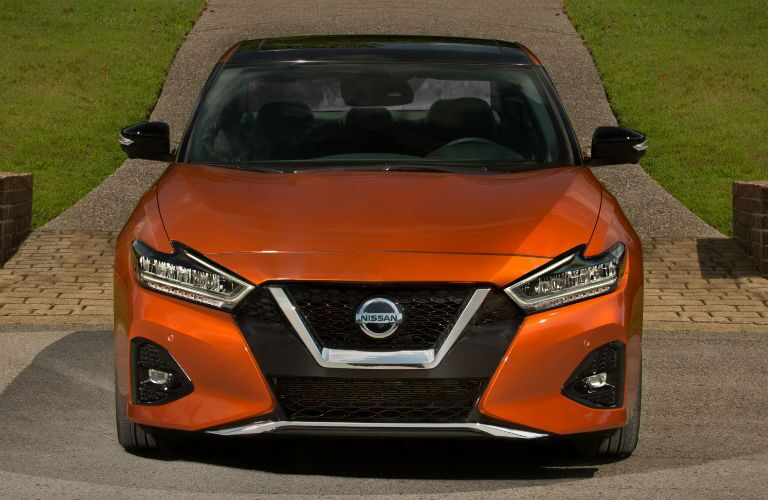 front view of an orange 2020 Nissan Maxima